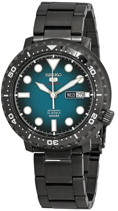 Seiko 5 Sports Gunmetal Stainless Steel Turquoise Dial Automatic Men's Watch SRPC65K