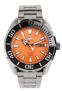 Seiko 5 Sports Silver Stainless Steel Orange Dial Automatic Men's Watch SRPC55K