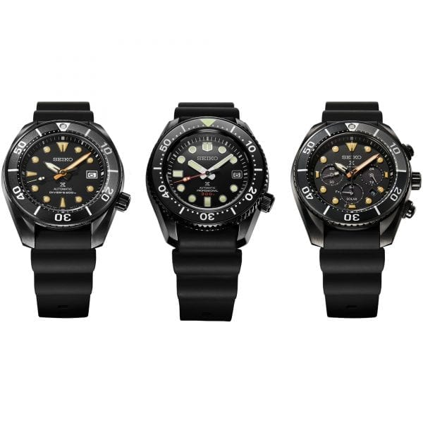 Seiko Limited Edition Diver's Prospex Black Series 'Sumo' Automatic Black Dial Silicone Strap Men's Watch SSC761J1