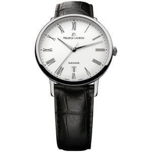 Maurice LaCroix Les Classiques Automatic White Dial Black Leather Strap Watch LC6067-SS001-110-1