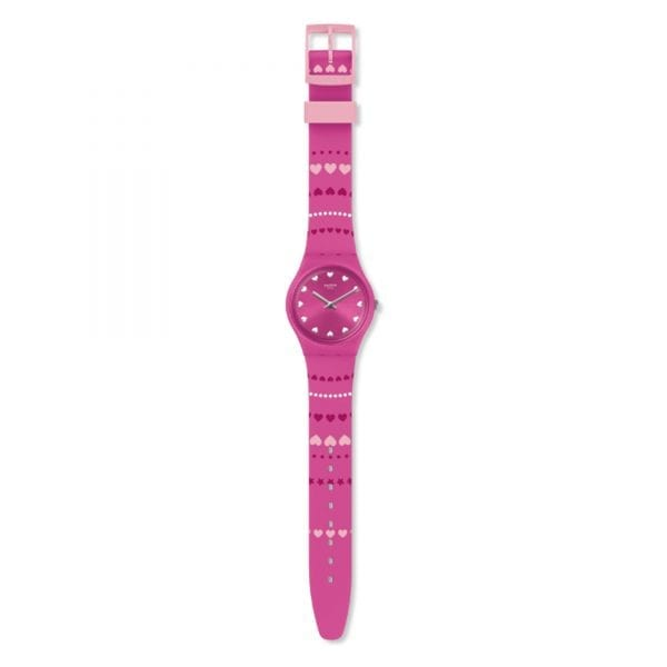 Swatch Limited Edition Valentines Day Coeur De Manage Ladies Watch GP160 34mmThis Swatch Limited Edition Valentines Day Heart Patterned Ladies Watch GP160 34mm has a loving pink and red heart pattern complimented by white dots on the silicone strap. In terms of the dial, each hour marker is replaced by white hearts which go well together with silver stainless steel hour and minute markers. The watch has a water resistance rating of 3 bar or 30 meters however, it is recommended that this timepiece should only be withheld to rain and light splashes. The watch is fastened by a light pink strap buckle, with this all being underpinned by high-quality Swiss watch making. Spread the love.Key Features:Swiss Made Quartz MovementPlastic CaseSilicone StrapGent Product Family2019 New ReleaseProduct Line Originals3 Bar Water Resistance30m Water ResistantSwatch LogoThe Brand: SwatchSwatch watches are globally-renowned for their trademark combination of quality Swiss watchmaking, pioneering use of plastic cases and straps, and eye-catching designs. There is a Swatch watch to suit every age, taste and lifestyle, with this variety and sense of difference ensuring that Swatch watches remain some of the most popular and sought after currently manufactured.