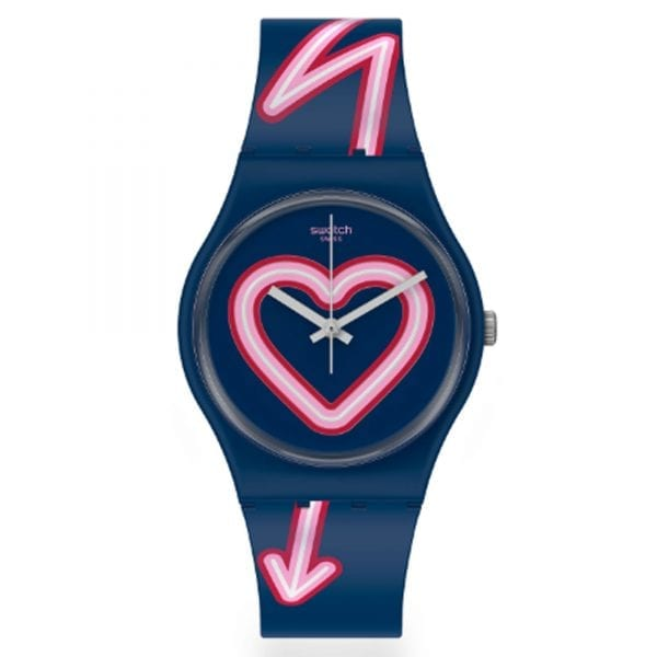 Swatch Flash Of Love Valentines Day Quartz Blue Heart Silicone Strap Watch GN267 RRP £54