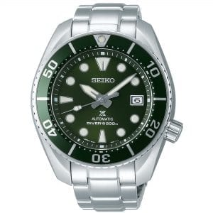 Seiko Prospex Green 'The Hulk' Silver Stainless Steel Automatic Diver Men's Watch SPB103J1This Seiko Prospex Green 'The Hulk' Silver Stainless Steel Automatic Diver Men's Watch SPB103J1 45mm is a renewal of a much-loved Seiko diver's original. Secondly, the bold design of the 2007 original has been modernized and the caliber upgraded to provide a longer duration power reserve of 70 hours. Thirdly, a green dial is complimented by silver and white indexes and hands which in turn are powered by a automatic 24 jewel 6R35 movement. LumiBrite coats both the indexes and hands which allows for easy visibility during dark periods or at the depths of the ocean. Additionally, replacing the 3 o'clock index is a date window compromising of black and white.The dial is protected by a thick stainless steel case which has been so named as the 'Hulk', due to the size and colour of the bezel. The sister model for this timepiece is the SPB101J1, which has been nicknamed as the 'Sumo' after one of Japan's most well-known sports. A silver stainless steel bracelet can then be fastened using a three fold clasp to sit comfortably around your wrist.Finally, this watch has a water resistance of 200 metres, making it suitable for swimming and diving.The Movement: JapanFor all you Seiko enthusiasts, this premium watch has been made and produced in Japan, indicated by the suffix 'J'. Seiko watches made in Japan are notoriously hard to obtain outside of Japan due to the highest quality of craftmanship and astonishing features that come in each individual watch. We have a range of Japanese watches here at Watchnation but in limited quantities, so if you are looking to add to your collection then this is the place for you.Key Features:Green DialGreen BezelSilver Stainless Steel BraceletAutomatic Movement200m Water ResistantLumiBriteDate WindowCailbre: 6R35+-25 Seconds Per DaySapphire Crystal GlassPush Button ReleaseThree Fold ClaspScrew Case BackScrew Down CrownUnidirectional Rotating Bezel24 JewelsStop Second Hand FunctionThe Family: ProspexThe Seiko Prospex family uses Seiko's  ethos to combat the watchmaker's greatest challenge, adventure sports. Whether at sea, on land or in the sky, this collection of watches will deliver trademark Seiko precision and reliability in even the most adverse of weather conditions.The Brand: SeikoCeaseless determination to innovate in every aspect of the watchmaker's art defines Seiko's 135-year history. By embracing this mantra, Seiko has been responsible for a string of advances in the technology of time. For example, the world's first quartz, TV and kinetic watch. Seiko are unique in that they manufacture every aspect of every watch in-house. Finally, this allows ruthless perfection even including growing their own quartz crystals and sapphires.