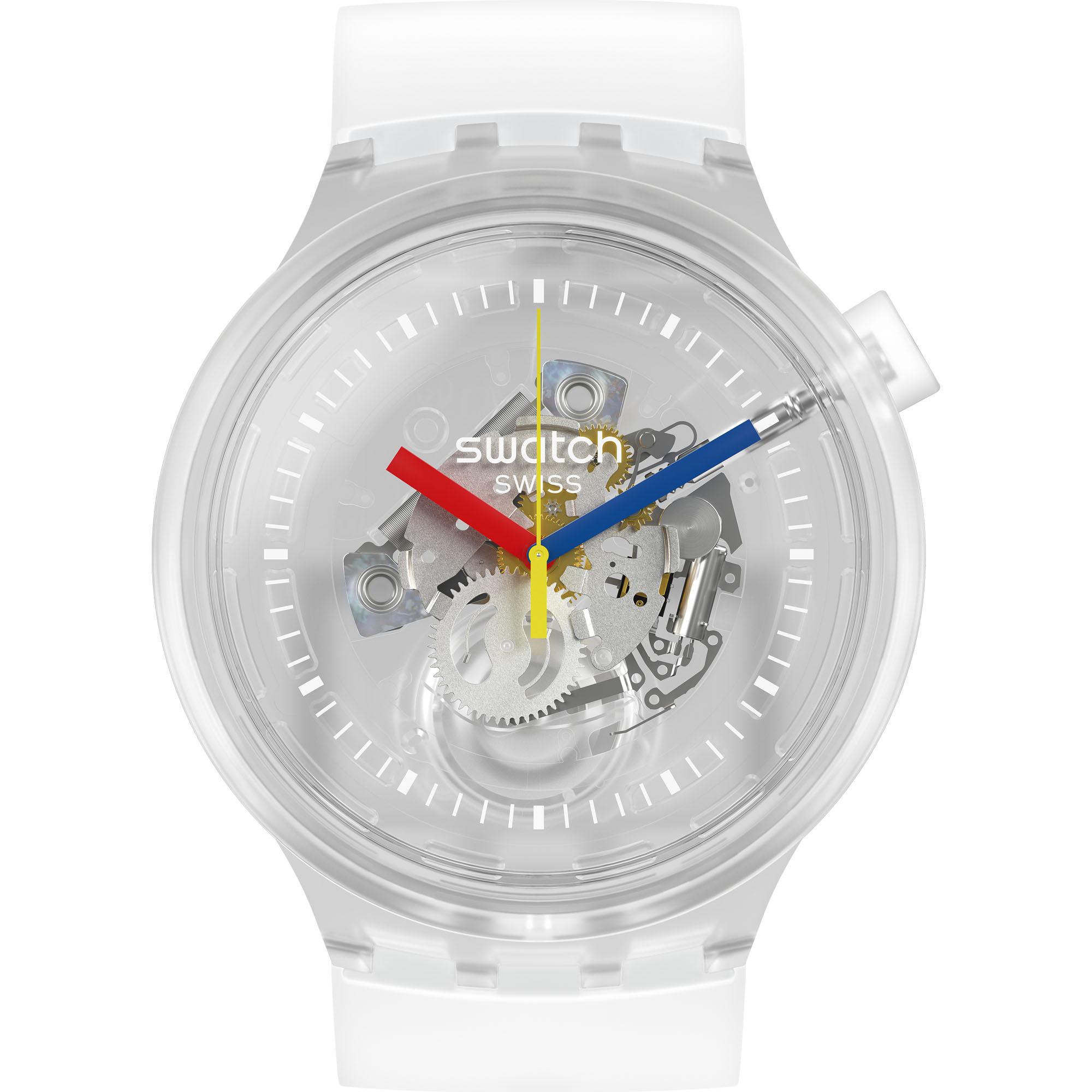 Swatch Big Bold Jellyfish Quartz Skeleton Dial Transparent Silicone Strap Watch SO27E100 RRP £85
