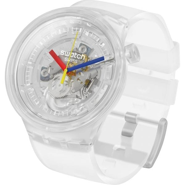 Swatch Big Bold Jellyfish Quartz Skeleton Dial Transparent Silicone Strap Watch SO27E100 RRP £85