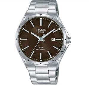 Pulsar Regular Solar Brown Dial Silver Stainless Steel Bracelet Men's Watch PX3137X1 RRP £125