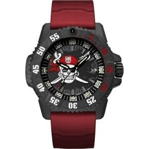 Luminox Navy SEAL Limited Edition Jolly Roger Black Dial Red Rubber Strap Men's Watch Set XS.3801.JR.SET RRP £755