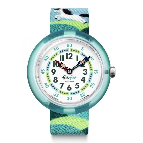 Flik Flak Pony Day Quartz White Dial Blue Textile Strap Boys Watch FBNP149 RRP £30