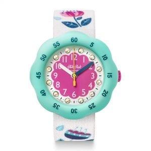 Flik Flak Bucolia Quartz Pink Dial White Textile Strap Girls Watch FPSP038 RRP £39