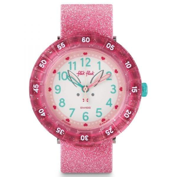 Flik Flak Bunnyaxus Quartz White Dial Pink Silicone Strap Girls Watch FCSP095 RRP £43