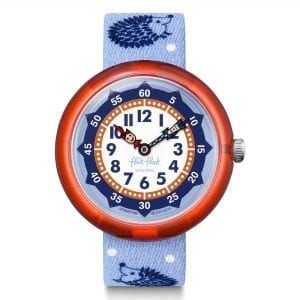 Flik Flak Hedgehugs Quartz White Dial Blue Textile Strap Boys Watch FBNP148 RRP £30