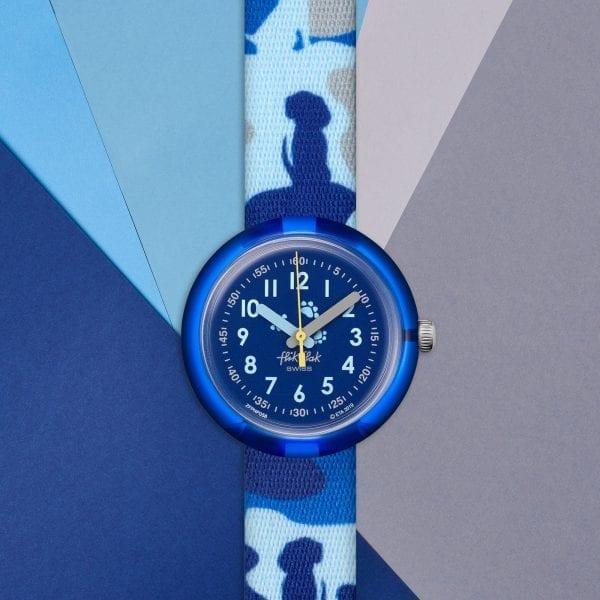 Flik Flak Wooflage Quartz Blue Dial Textile Strap Boys Watch FPNP058 RRP £30