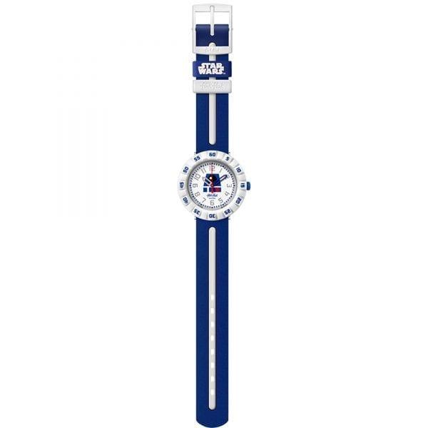 Flik Flak R2-D2 Quartz White Dial Blue Plastic Strap Boys Watch FFLP006 RRP £43