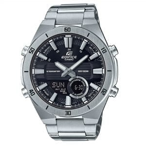 Casio Edifice Silver Stainless Steel Black Dial Quartz Men's Watch ERA-110D-1AVEFThis Casio Edifice Silver Stainless Steel Black Dial Quartz Men's Watch ERA-110D-1AVEF provides speed and intelligence to set the pace ahead of the pack. At the 12 o'clock position is the ever present Casio Edifice logo in white on the black dial. On the opposite end of the dial is a digital display and chronograph, of which can display the day, date and set 3 daily alarms. The silver stainless steel hands are coated in a luminous material which allows for easy visibility at night. Surrounding the black dial is a silver stainless steel case and mineral glass with a steel bracelet fastened using a three fold clasp.This watch has a water resistance of 100 metres, making it suitable for swimming and snorkelling.Key Features:Edifice FamilySilver Stainless Steel CaseSilver Stainless Steel BraceletBlack DialQuartz MovementChronographDate/Day Window100m Water ResistantAlarmSnooze12/24 Hour Display10 Year Battery LifeTelememo 30World TimeThree Fold ClaspMineral GlassHourly Time Signal+-30 Seconds Per MonthThe Family: EdificeCasio's Edifice collection takes its aesthetic inspiration from F1 cars, resulting in a collection of timepieces that combine dynamic form with intricately detailed watch faces. Higher end models feature Casio's exclusive Multi Mission Drive movement, in which the watch is comprised of five separate motors to ensure that power is never diverted from the hands. Designed to offer what Casio say will be 'Speed and Intelligence,' the Edifice range offers motorsport precision engineering in a watch.The Brand: CasioCasio was established in 1946 by Japanese engineer Tadao Kashio. The company entered the timepiece market in 1974 with the release of the Casiotron, the world's first Auto Calendar watch. Only eleven years after entering this field, Casio completely reshaped global thought about the function a watch should perform with the release of the pioneering and now legendary G-S