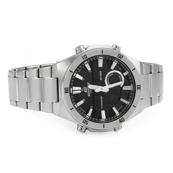 Casio Edifice Black Dial Silver Steel Men's Watch ERA-110D