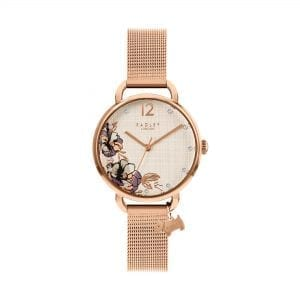 Radley Sketchbook Floral Quartz White Dial Rose Gold Mesh Stainless Steel Bracelet Ladies Watch RY4526 RRP £89.95