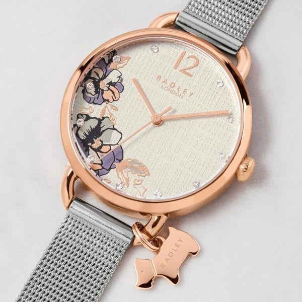 Radley Sketchbook Floral Quartz White Dial Silver Mesh Stainless Steel Bracelet Ladies Watch RY4525 RRP £85