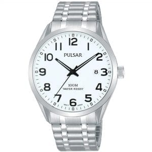 Pulsar Classic Quartz White Dial Silver Stainless Steel Bracelet Men's Watch PS9559X1 RRP £69.95