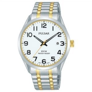 Pulsar Classic Quartz White Dial Two Tone Silver Gold Stainless Steel Bracelet Men's Watch PS9565X1 RRP £79.95