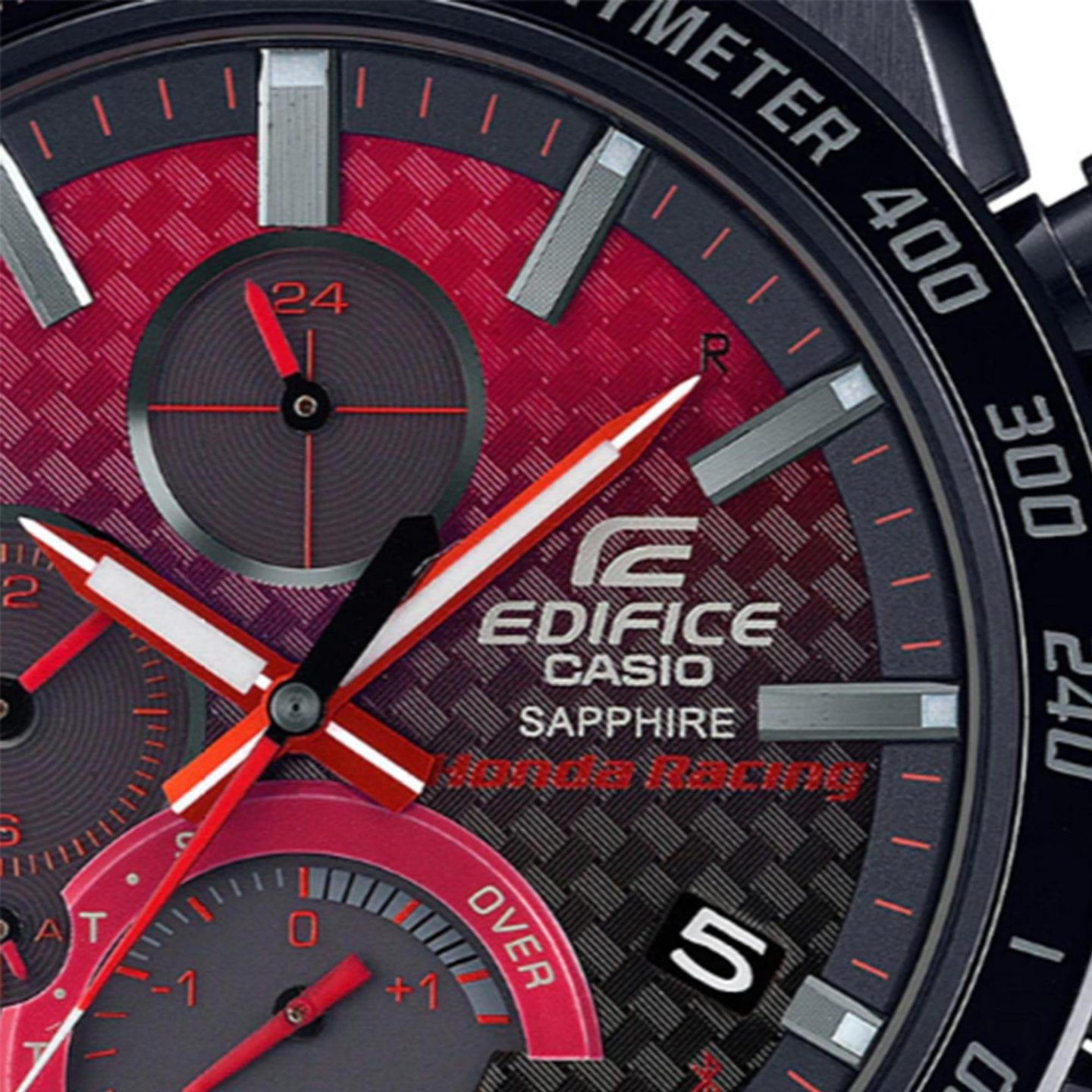 Casio Edifice Honda Racing Solar Black Dial Red Fabric Strap Men's Watch EQB-1000HRS-1AER RRP £799