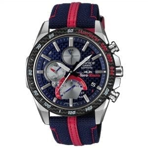 Casio Edifice Scuderia Toro Rosso Limited Edition Solar Blue Dial Blue Fabric Strap Men's Watch EQB-1000TR-2AER RRP £549
