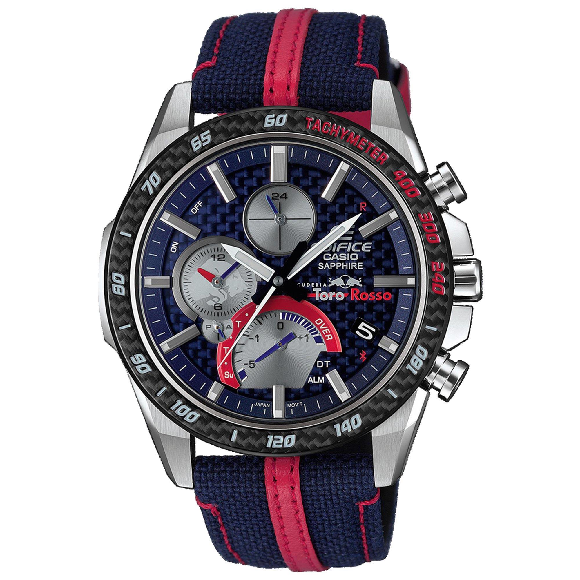Casio Edifice Scuderia Toro Rosso Limited Edition Solar Blue Dial Blue Fabric Strap Men's Watch EQB-1000TR-2AER RRP £549