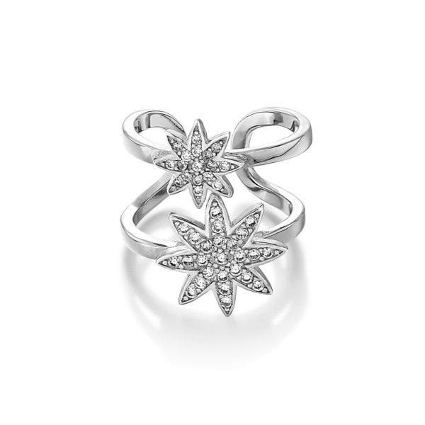 Silver NOVA double star adjustable ring