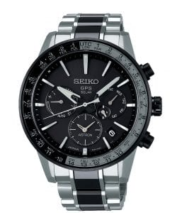 Seiko Astron Solar GPS Caliber 5X Titanium World Time Mens Watch SSH011J1 44mmThisSeiko Astron Solar GPS Caliber 5X Titanium World Time Mens Watch SSH011J1 44mm is part of the 5X series which features sapphire crystal glass and a ceramic bezel alongside a titanium case with super hard coating and ceramic bracelet. Just below the 12 o'clock index is the ever present Seiko logo as well as the labelled movement, GPS solar. A subdial can be found by the 3 o'clock index which displays the day of the week with a simpistic date window located just below. At the 6 o'clock position is a chronograph which can be used to measure time seperately, just like a stopwatch. At the 9 o'clock psoition is another subdial which can be tuned to select additional features such as an airplane mode. The ceramic bezel can be used to display the world time, allowing you to see the world on your wrist.This watch has a water resistance of 100 metres, making it suitable for swimming and snorkelling.For all you Seikoenthusiasts, this premium timepiece has been made and produced in Japan, indicated by the suffix 'J'. Seiko watches made in Japan are notoriously hard to obtain outside of Japan due to the highest quality of craftmanship and astonishing features that come in each individual timepiece. We have a range of Japanese watches here at Watchnation but in limited quantities, so if you are looking to add to your collection then this is the perfect place for you.Key Features:Astron FamilySolar GPS MovementCaliber 5X53 EngineTitanium CaseWorld Time+-15 Seconds Per MonthSapphire Crystal GlassLumiBritePush Button Deployment100m Water ResistantDay DisplayDaylight Savings TimeDual TimeOvercharge PreventionPower ReserveWorld Time FunctionThe Family:AstronThanks to Seiko's relentless drive for innovation, new possibilities in watch technology continue to open up as the new Seiko Astron, the world's first GPS solar watch, so dramatically demonstrates. Seiko has, once again, pushed back the boundaries of