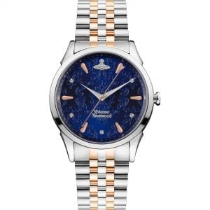 Vivienne Westwood The Wallace Quartz Blue Dial Two Tone Silver Rose Gold Stainless Steel Ladies Watch VV208DBLSR RRP £255