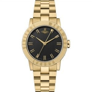 Vivienne Westwood The Warwick Quartz Black Dial Gold PVD Stainless Steel Ladies Watch VV213BKGD RRP £250