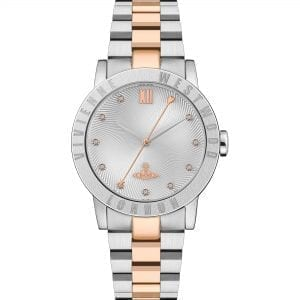 Vivienne Westwood The Warwick Quartz Silver Dial Two Tone Silver Rose Gold Stainless Steel Ladies Watch VV213SLRS RRP £240