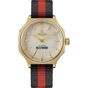Vivienne Westwood The Mile End Quartz Silver Dial Black Red Nylon Ladies Watch VV227CPBK RRP £215