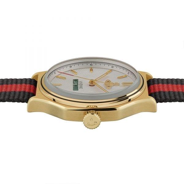 Vivienne Westwood The Mile End Quartz Silver Dial Black Red Nylon Ladies Watch VV227CPBK RRP £215