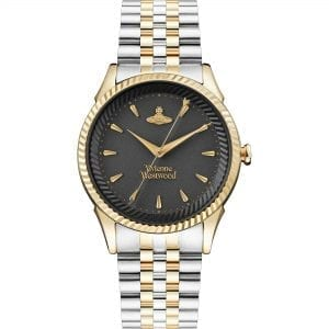 Vivienne Westwood The Seymour Quartz Black Dial Two Tone Silver Gold Stainless Steel Ladies Watch VV240BKGS RRP £255