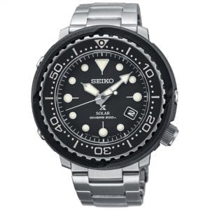 Seiko Prospex Sea Solar Divers Black Dial Tuna Case Mens Watch SNE497P1 47mmThis Seiko Prospex Sea Solar Divers Black Dial Tuna Case Mens Watch SNE497P1 47mm sees Seiko add another timepiece to their Prospex collection. This results in a stunning aquatic timepiece, specifically engineered to tackle even the harshest of oceans, and typical of the legendary Seiko Prospex family. Features that make this possible include 200m of water resistance, a unidirectional rotating bezel, and a screw down crown. In terms of features, a date window can be found at the right hand side of the dial with a tuna case sitting on the outside. Finally a silver stainless steel bracelet is fastened with a push button clasp.Key Features:V157 Calibre Solar Powered MovementAccurate to +/- 15 seconds per monthTuna Case ShapeScrew Down CrownCurved Hardlex Crystal GlassBlack Silicone StrapDate WindowLumi Brite Hands and IndexesWater Resistant to 200mThe Family: ProspexThe Seiko Prospex family uses Seiko's innovative ethos to combat the watchmaker's greatest challenge, adventure sports. Whether at sea, on land or in the sky, this collection of timepieces will deliver trademark Seiko precision and reliability in even the most adverse of weather conditions.The Brand: SeikoSeiko's 135-year history has been marked by a ceaseless determination to innovate in every aspect of the watchmaker's art. By embracing this mantra, Seiko has been responsible for a string of industry-leading advances in the technology of time, such as the world's first quartz watch, the world's first TV watch, and the Seiko Kinetic, the first watch ever to generate its own electricity from the movement of the wearer. Seiko are unique in that they manufacture every aspect of every watch in-house, with this ruthless pursuit of perfection even including growing their own quartz crystals and sapphires.