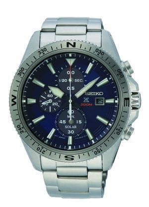 Seiko Land Solar Prospex Chronograph Mens Watch SSC703P1 44mmPart of Seiko's Land Prospex series, this Seiko Land Solar Prospex Chronograph Mens Watch SSC703P1 44mm is a stunning addition to the Prospex lineup. In terms of the blue dial, three chronographs can be found at the 12, 6 & 9 o'clock positions up to 60 minutes in 1/20. Additionally, at the 3 o'clock position is a simplistic date window and the ever present Seiko logo. Both hands and indexes on the dial are coated in LumiBrite, allowing for easy visibility at night. The sleek dial is portected by hardlex glass and a silver stainless steel case. The bezel comes complete with a full 360 degree compass. Finally, this timepiece can be equipped by fastening a three fold clasp to sit comfortably around ones wrist.This epic timepiece is perfect for those who seek the thrill of diving with a water resistance of 200 meters or 20ATM.Key Features:ChronographBlue DialDate WindowLumiBriteSolar MovementCaliber: V176Curved Hardlex GlassSilver Stainless Steel6 Months When Fully Charged+- 15 Seconds Per Month200m Water ResistantRotating BezelThree Fold ClaspAnalogue DisplayCompassThe Family: ProspexThe Seiko Prospex family uses Seiko's innovative ethos to combat the watchmaker's greatest challenge, adventure sports. Whether at sea, on land or in the sky, this collection of timepieces will deliver trademark Seiko precision and reliability in even the most adverse of weather conditions.The Brand: SeikoSeiko's 135-year history has been marked by a ceaseless determination to innovate in every aspect of the watchmaker's art. By embracing this mantra, Seiko has been responsible for a string of industry-leading advances in the technology of time, such as the world's first quartz watch, the world's first TV watch, and the Seiko Kinetic, the first watch ever to generate its own electricity from the movement of the wearer. Seiko are unique in that they manufacture every aspect of every watch in-house, with this ruthless pursuit of perfection even including growing their own quartz crystals and sapphires.