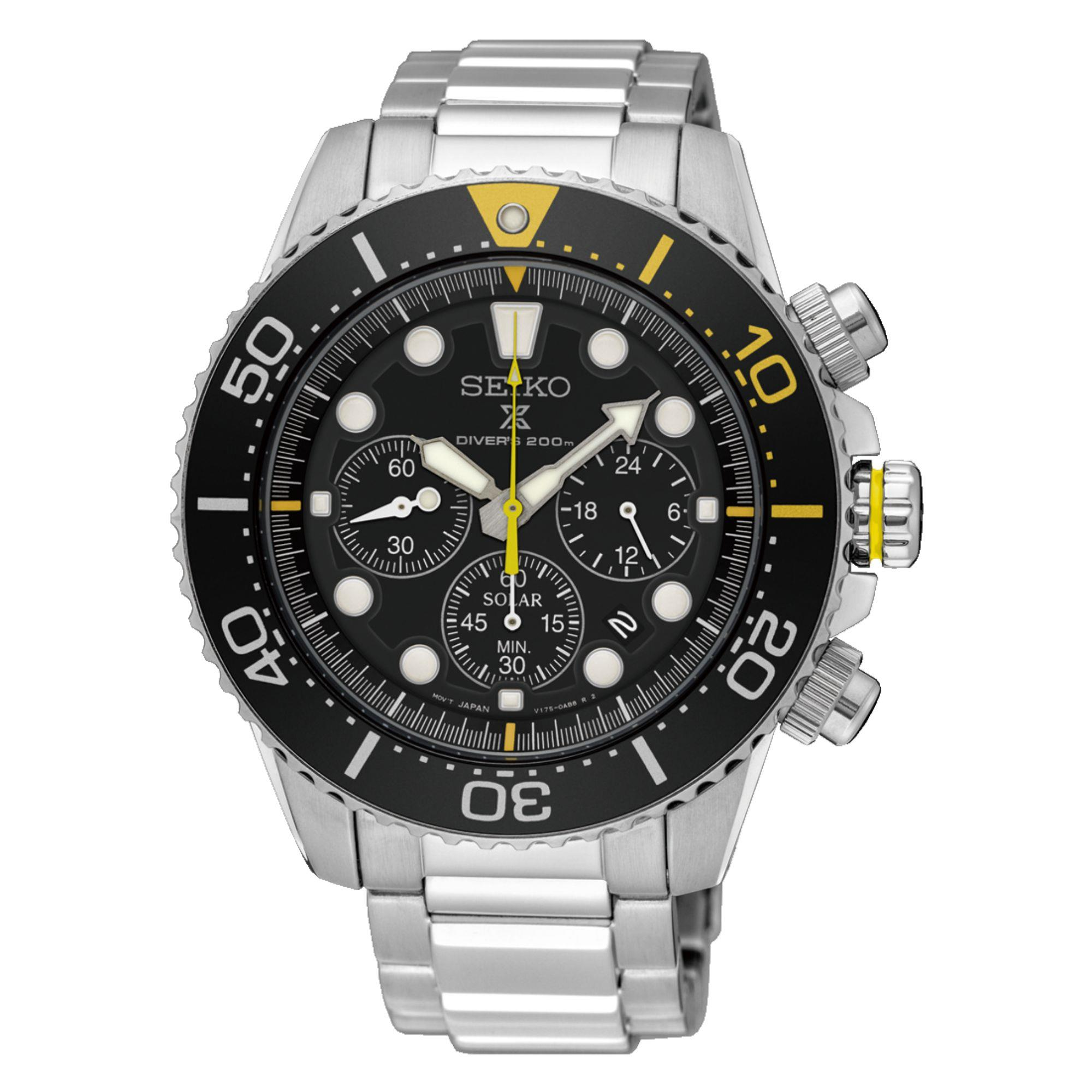 Seiko Prospex Solar Black Dial Silver Stainless Steel Chronograph Diver's Men's Watch SSC613P1