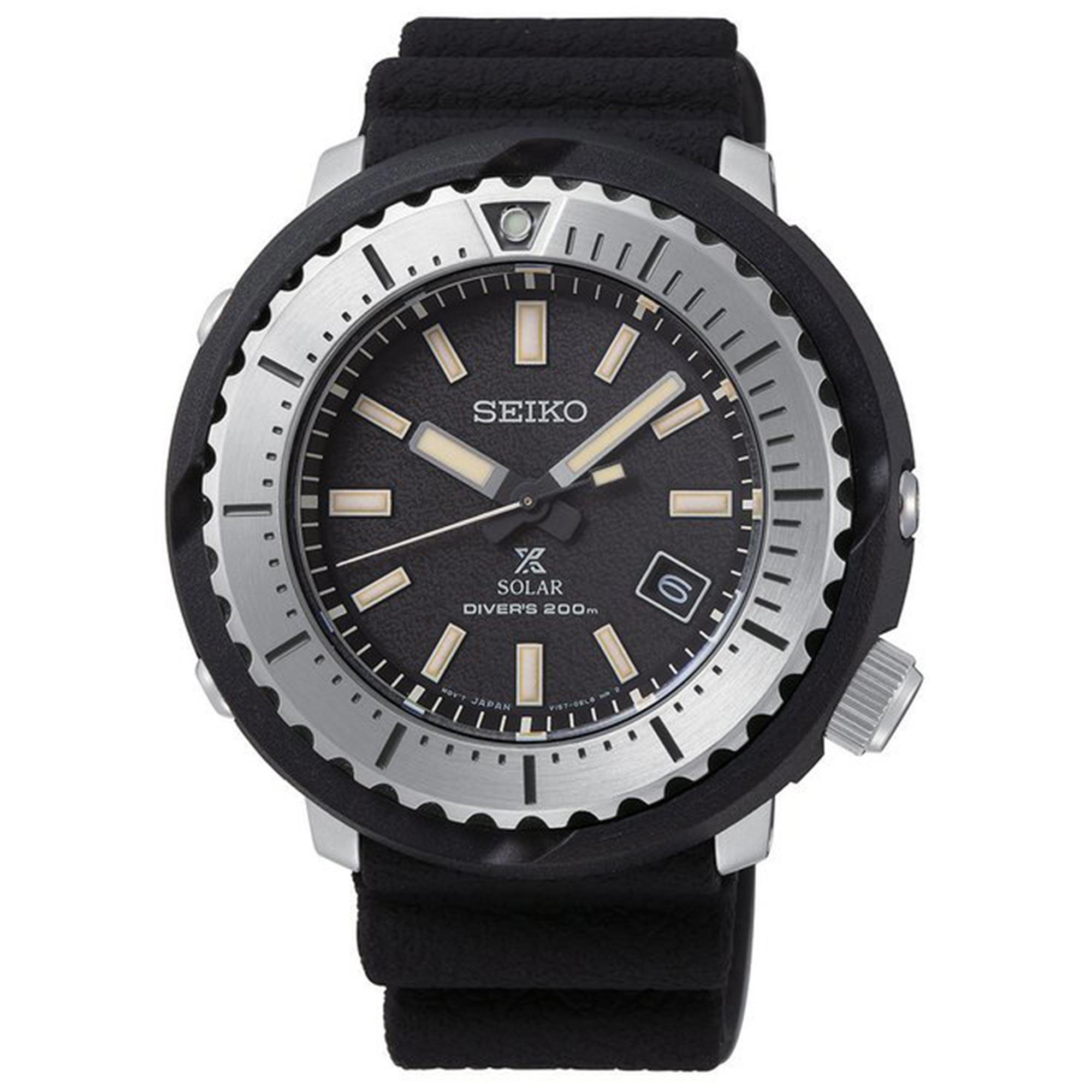 Seiko Prospex Street Series Solar Black Dial 'Tuna Case' Silicone Strap Men's Watch SNE541P1 RRP £340