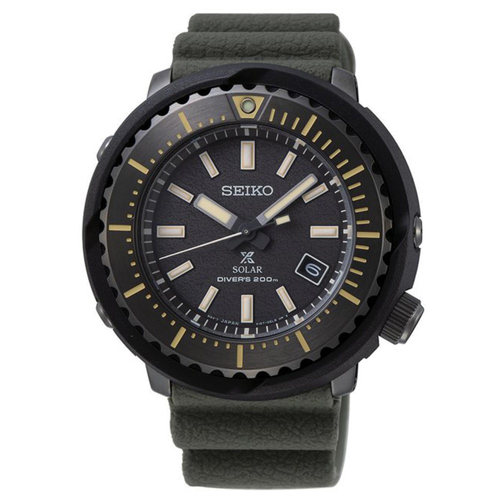 Seiko Prospex Street Series Solar Black Dial 'Tuna Case' Green Silicone Strap Men's Watch SNE543P1 RRP £370
