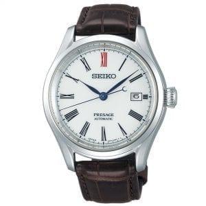 Seiko Presage Automatic Arita Porcelain White Dial Brown Leather Strap Men's Watch SPB095J1 RRP £1,550