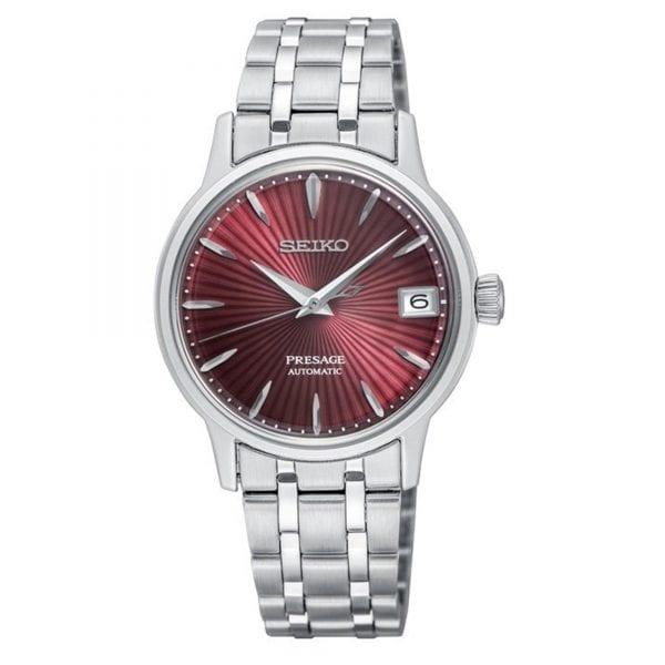 Seiko Presage Cocktail Time Kir Royale Automatic Red Dial Silver Stainless Steel Ladies Watch SRP853J1 RRP £349