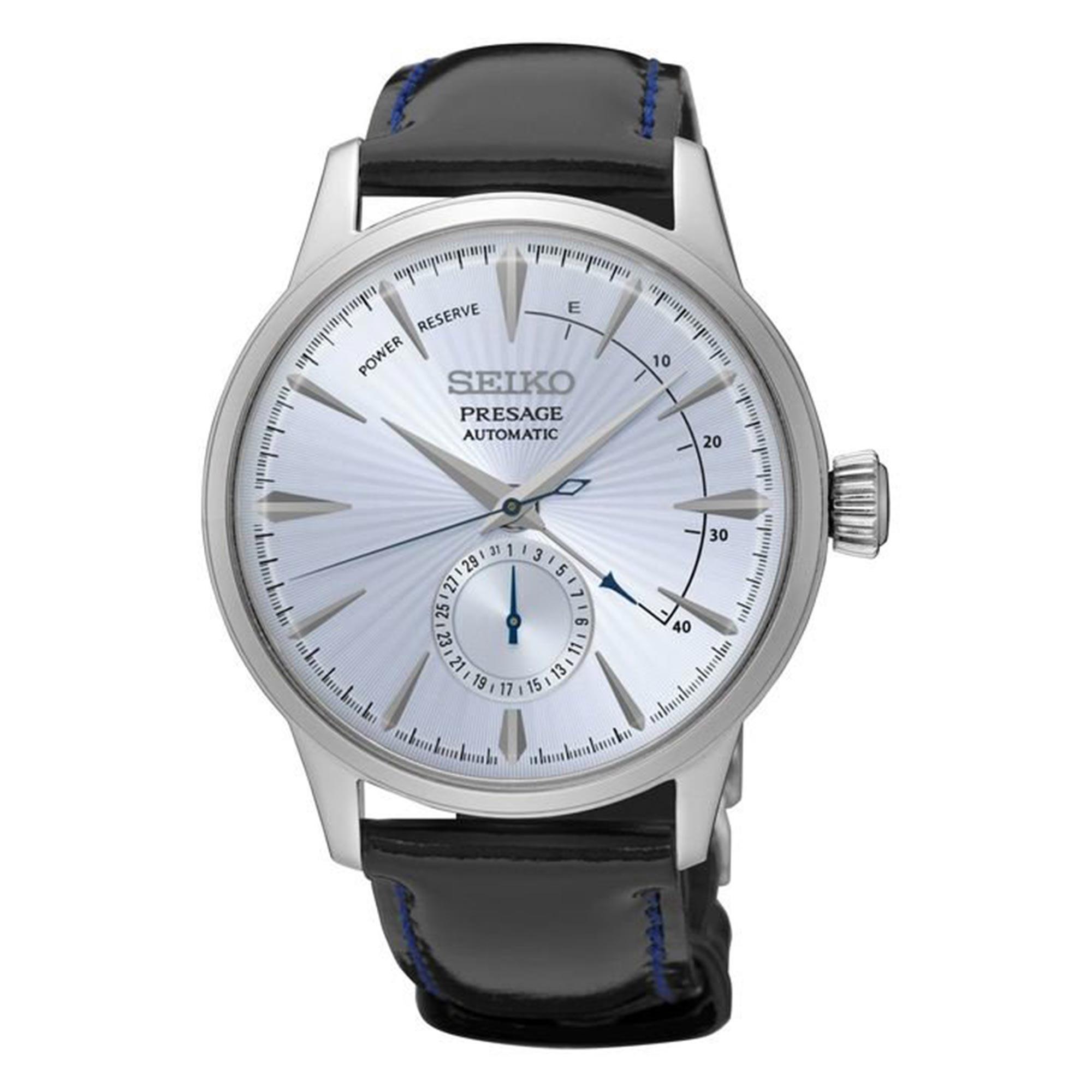 Seiko Presage Cocktail Time Automatic Silver Dial Black Leather Strap Men's Watch SSA343J1 RRP £399