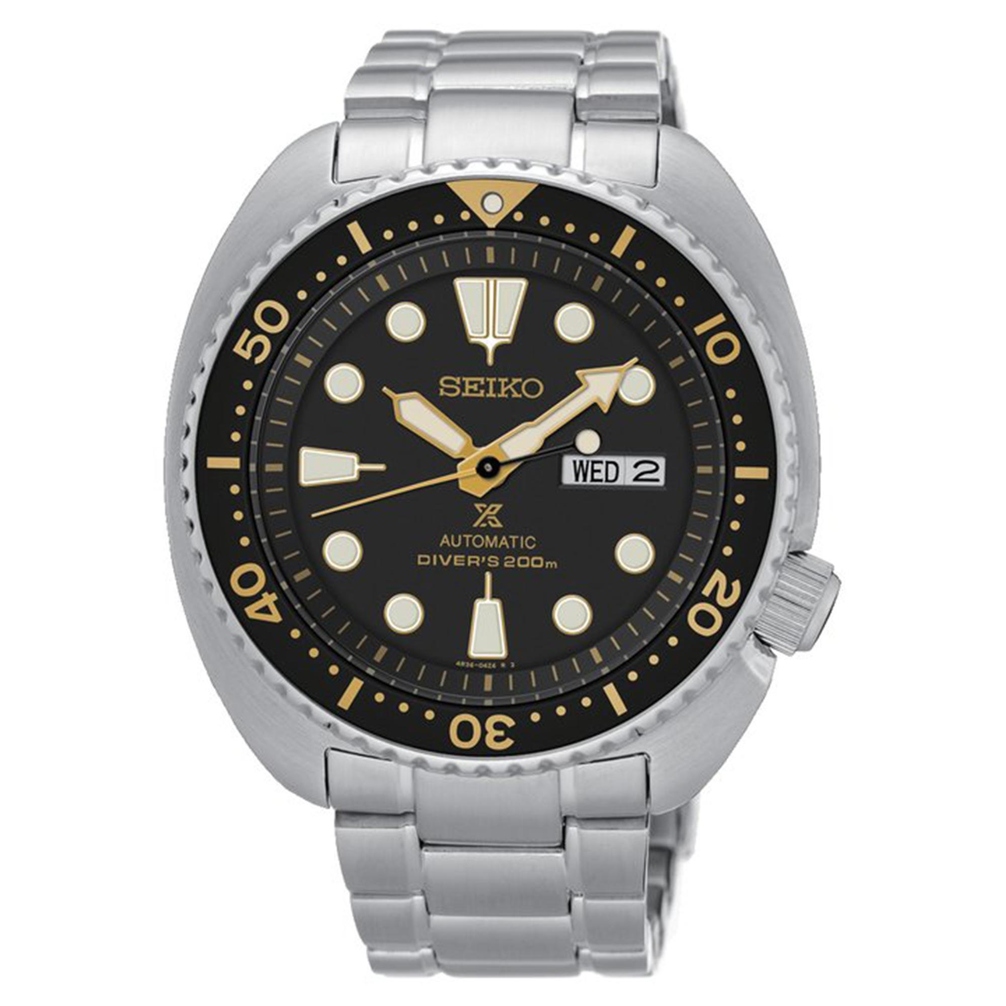 Seiko Prospex Automatic Black Dial 'Turtle Case' Silver Stainless Steel Diver's Men's Watch SRP775K1 RRP £399