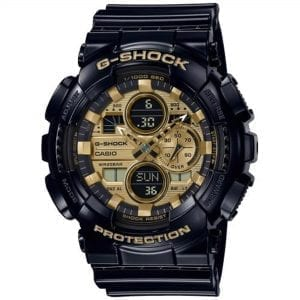 Casio G-Shock Quartz Gold Dial Black Resin Strap Men's Watch GA-140GB-1A1ER RRP £149