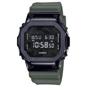 Casio G-Shock Metal Bezel Series Quartz Digital LCD Dial Green Resin Strap Men's Watch GM-5600B-3ER RRP £199