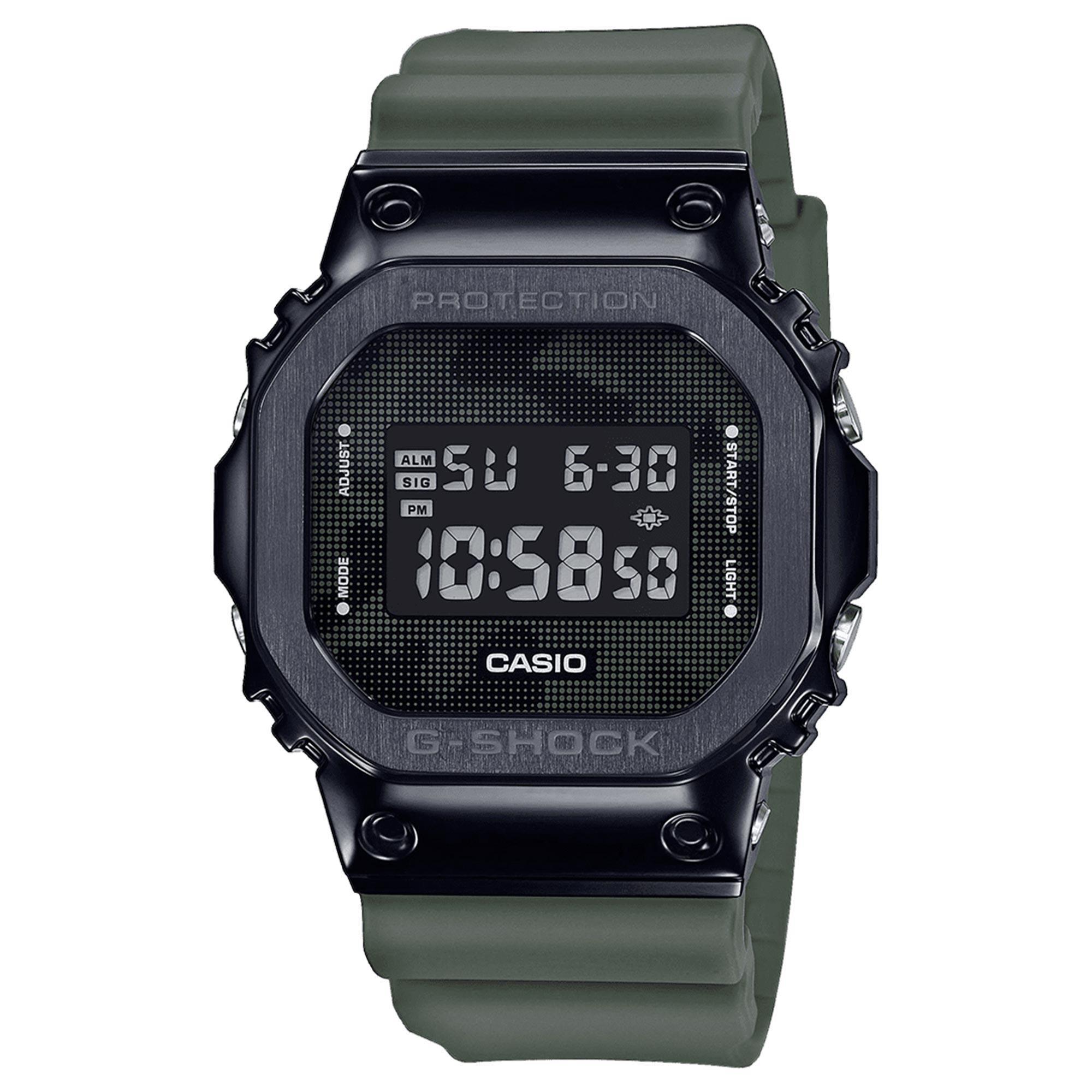 Casio G-Shock Metal Bezel Series Quartz Digital LCD Dial Green Resin Strap Men's Watch GM-5600B-3ER RRP £199