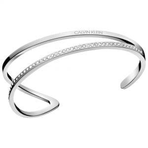 Calvin Klein Outline Silver Stainless Steel Open Bangle KJ6VMF04010M