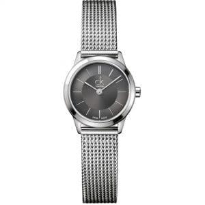 Calvin Klein Minimal Quartz Black Dial Silver Stainless Steel Mesh Bracelet Ladies Watch K3M23124 RRP £169