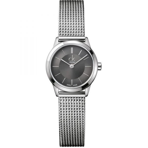 Calvin Klein Minimal Quartz Black Dial Silver Stainless Steel Mesh Bracelet Ladies Watch K3M23124 RRP £169