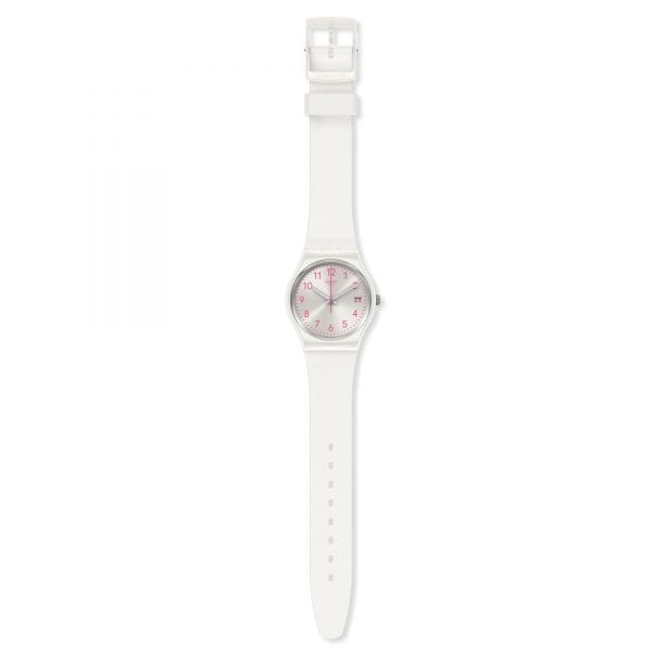 Swatch Pearlazing Quartz Silver Dial White Silicone Strap Ladies Watch GW411 RRP £54